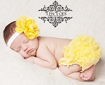 Yellow Chiffon Lotus Flower Baby Headband